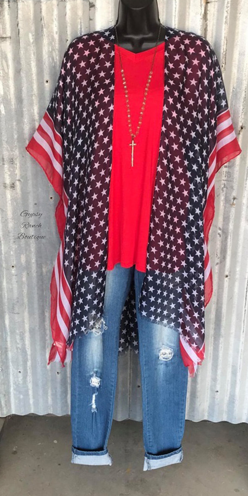Proud to Be American Cardigan Kimono - Also in Plus Size