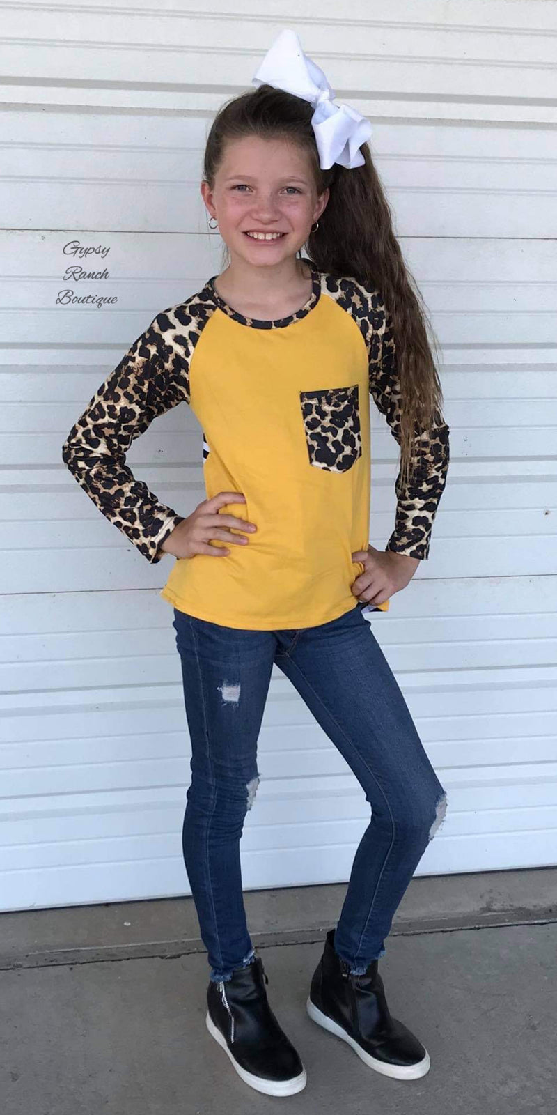Allie Mustard Leopard Stripe Top - Kids