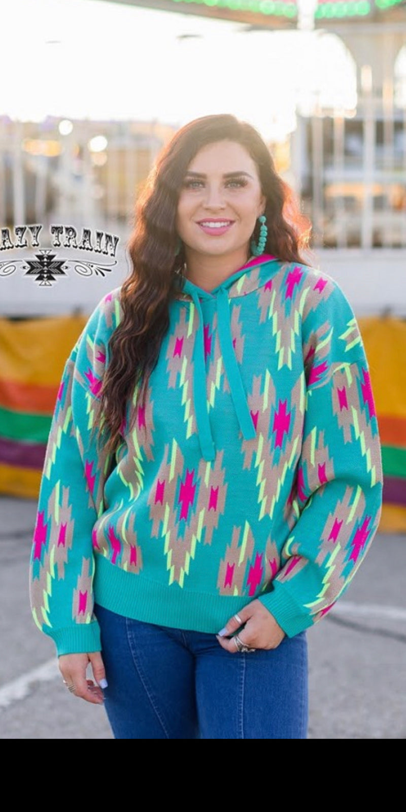 Highway Blues Neon Tribal Pullover - Also in Plus Size