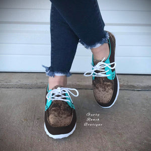 Cow Catcher Turquoise Shoes