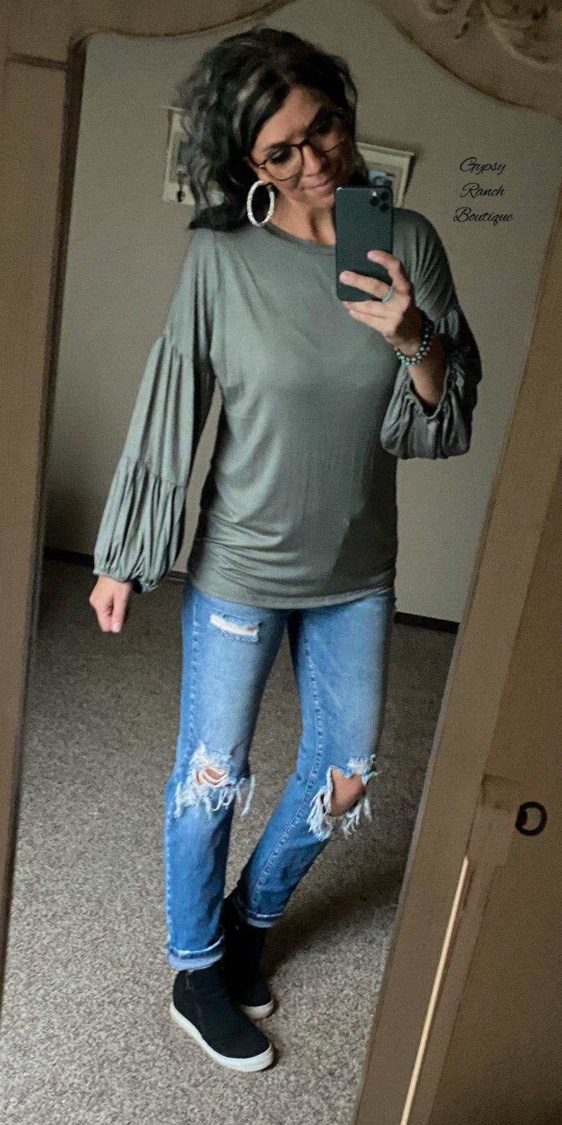 Olive Tiered Bubble Sleeve Top