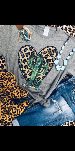 Cactus Leopard Heart Top - Also in Plus Size