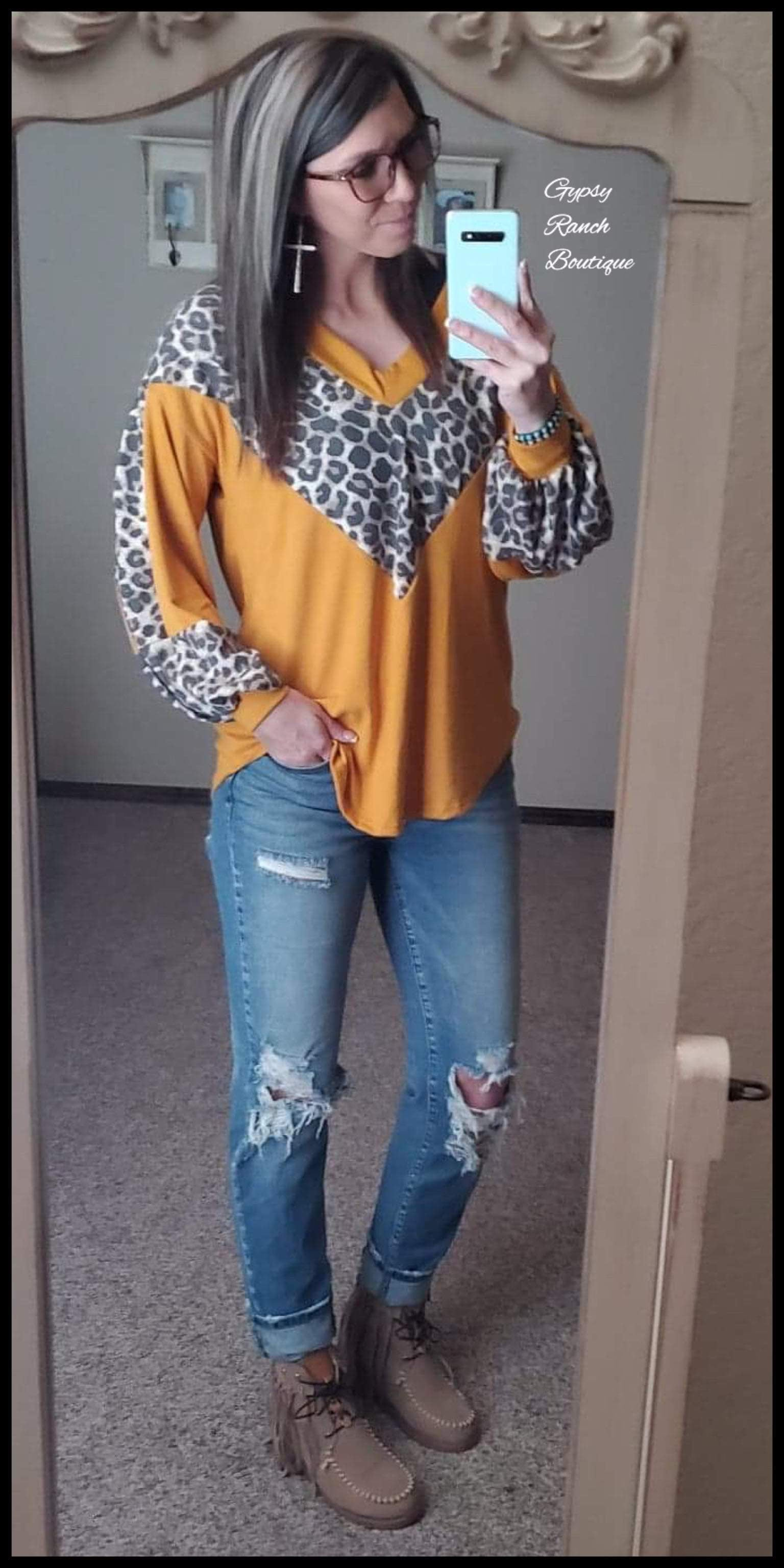 Abby Kate Mustard Leopard Top - Also in Plus Size