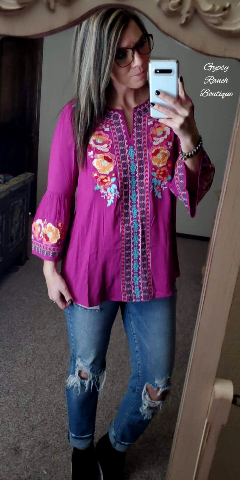 Olivia Magenta Embroidered Top