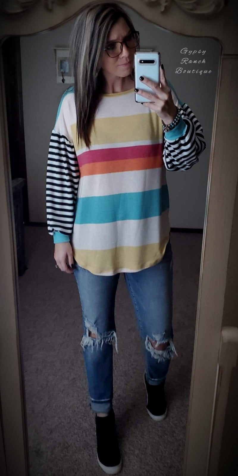 Sandy Point Stripe Bubble Sleeve Top - Also in Plus Size