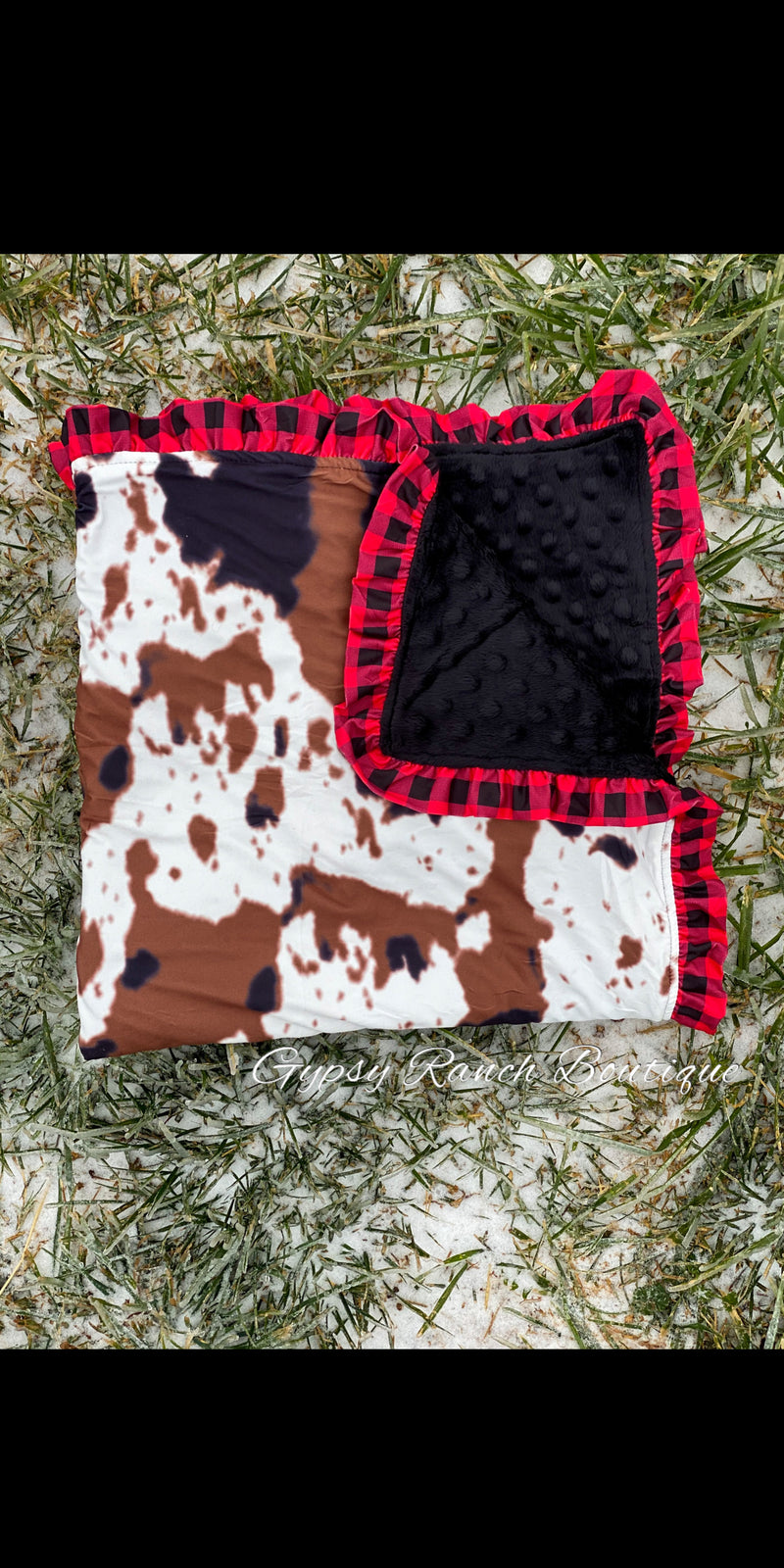 Cowprint & Buffalo Plaid Minky Baby Blanket