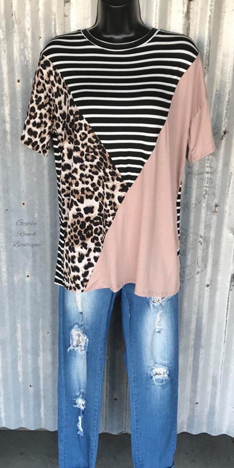 Chapel Hill Leopard Stripe Top - Also in Plus Size