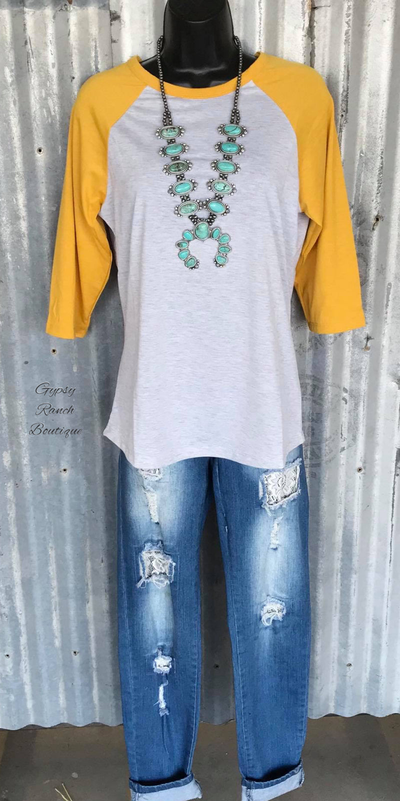 Burkburnett Mustard Raglan Top-Also in Plus Size