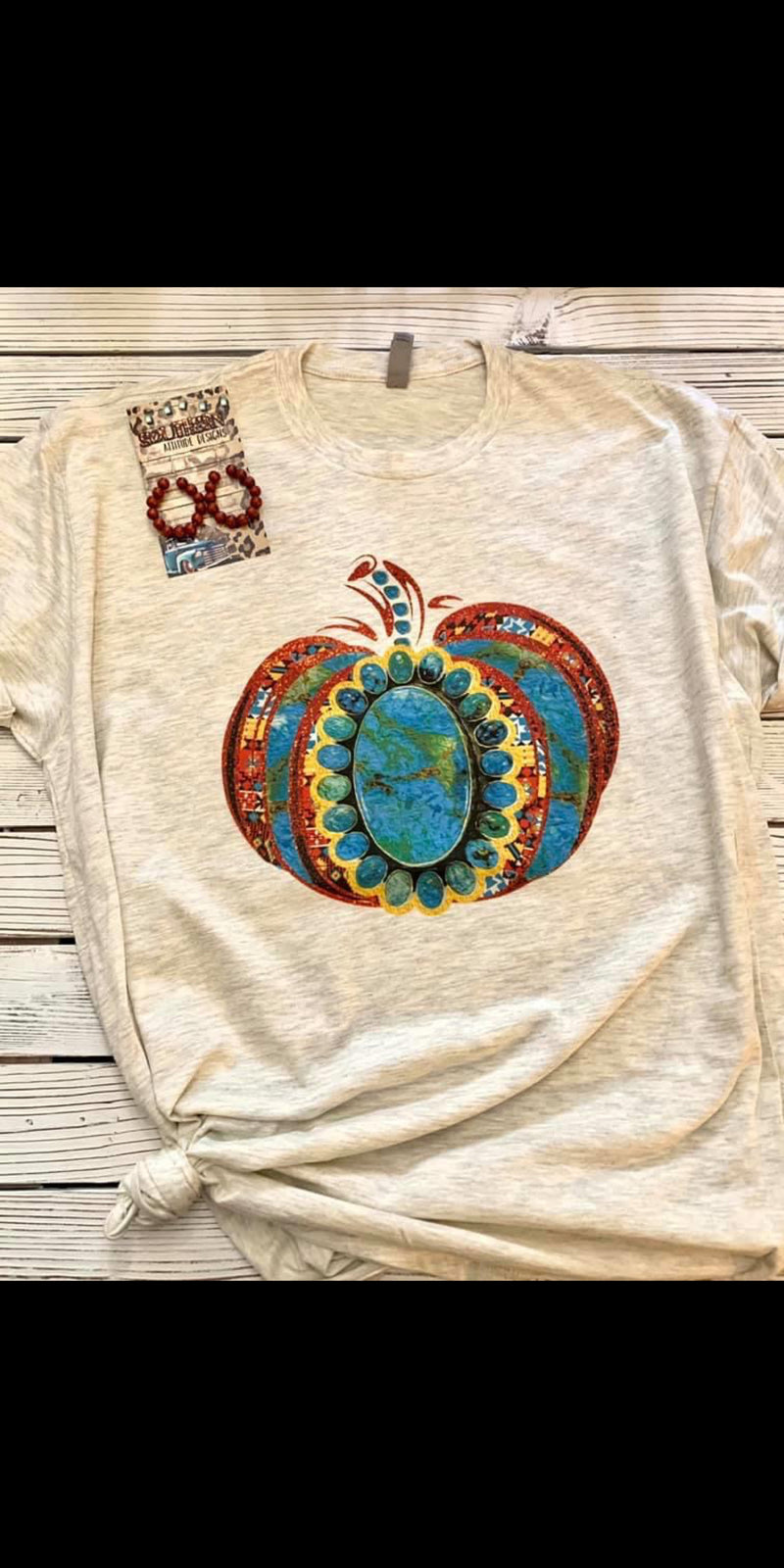 Turquoise Vibes Pumpkin on {OATMEAL} Top - Also in Plus Size