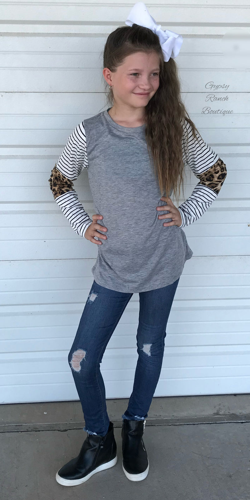 Kids Londyn Leopard Stripe Top
