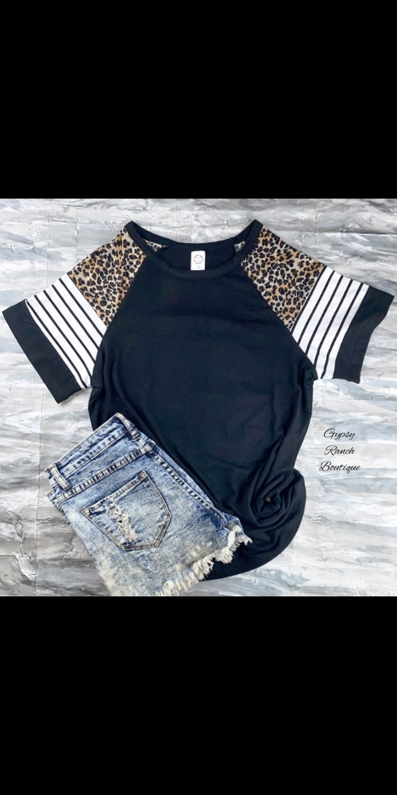 Rochester Black Leopard Stripe Top - Also in Plus Size