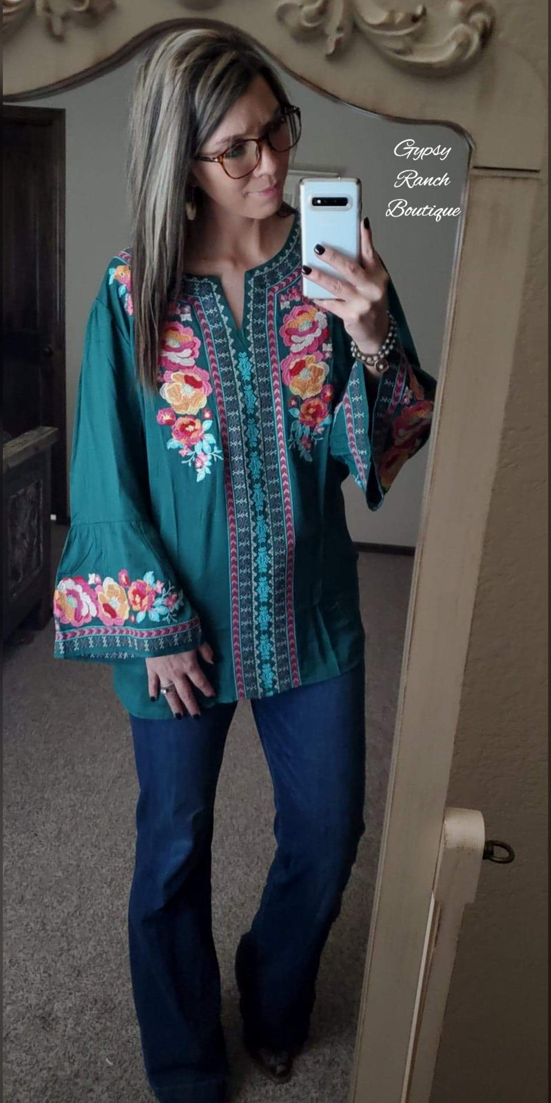 Rockin Ranch Embroidered Top - Also in Plus Size