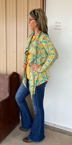 Gallonway Mustard Turquoise Aztec Cardigan - Also in Plus Size