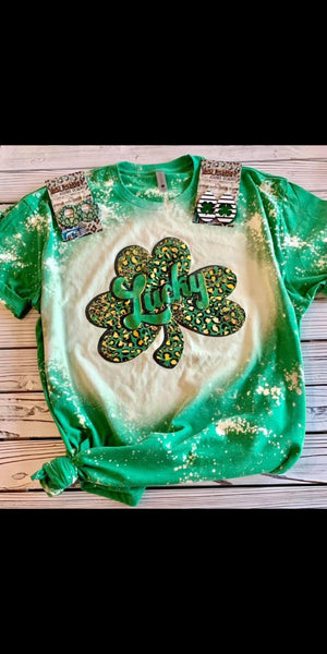 Lucky Leopard Shamrock Top- Also in Plus Size