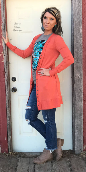 Sedona Orange Snap Cardigan - Also in Plus Size