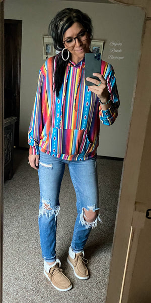 Vega Serape Hoodie Top - Also in Plus Size