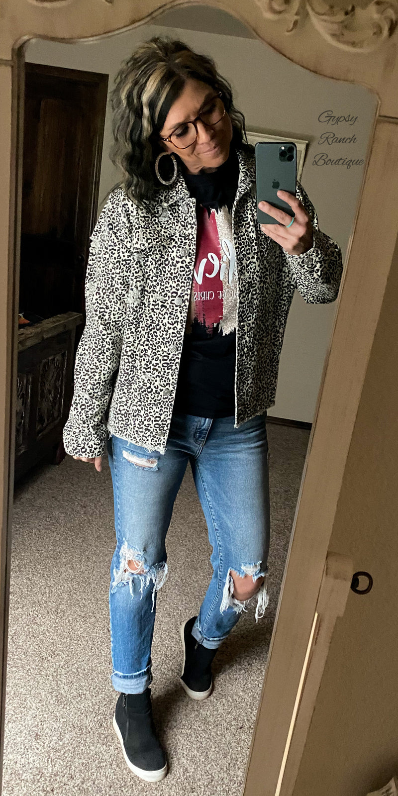 Urban Snow Leopard Distressed Denim Jacket - Also in Plus Size