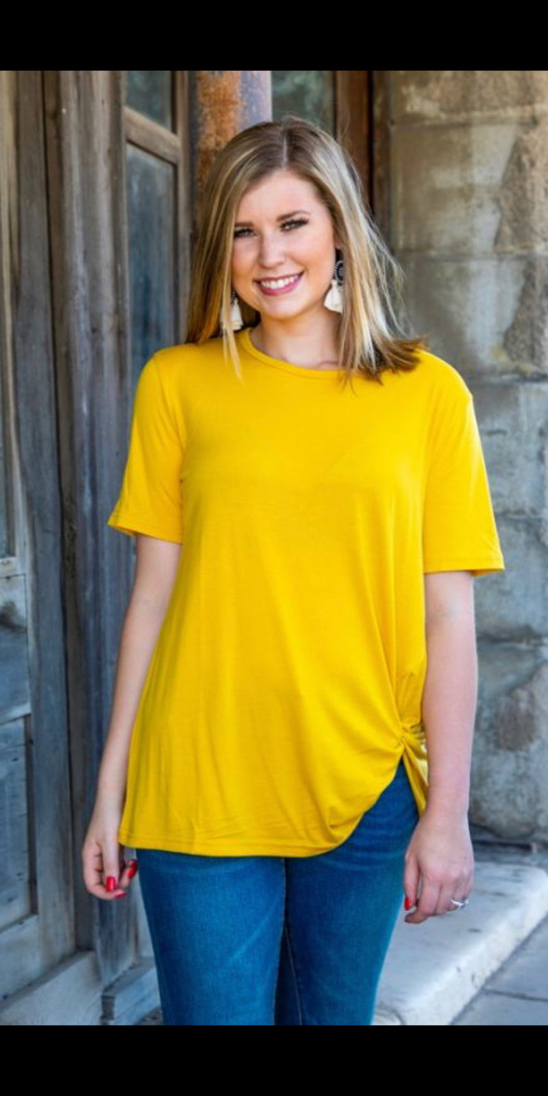 Last Chance Mustard Knotty Top - Also in Plus Size