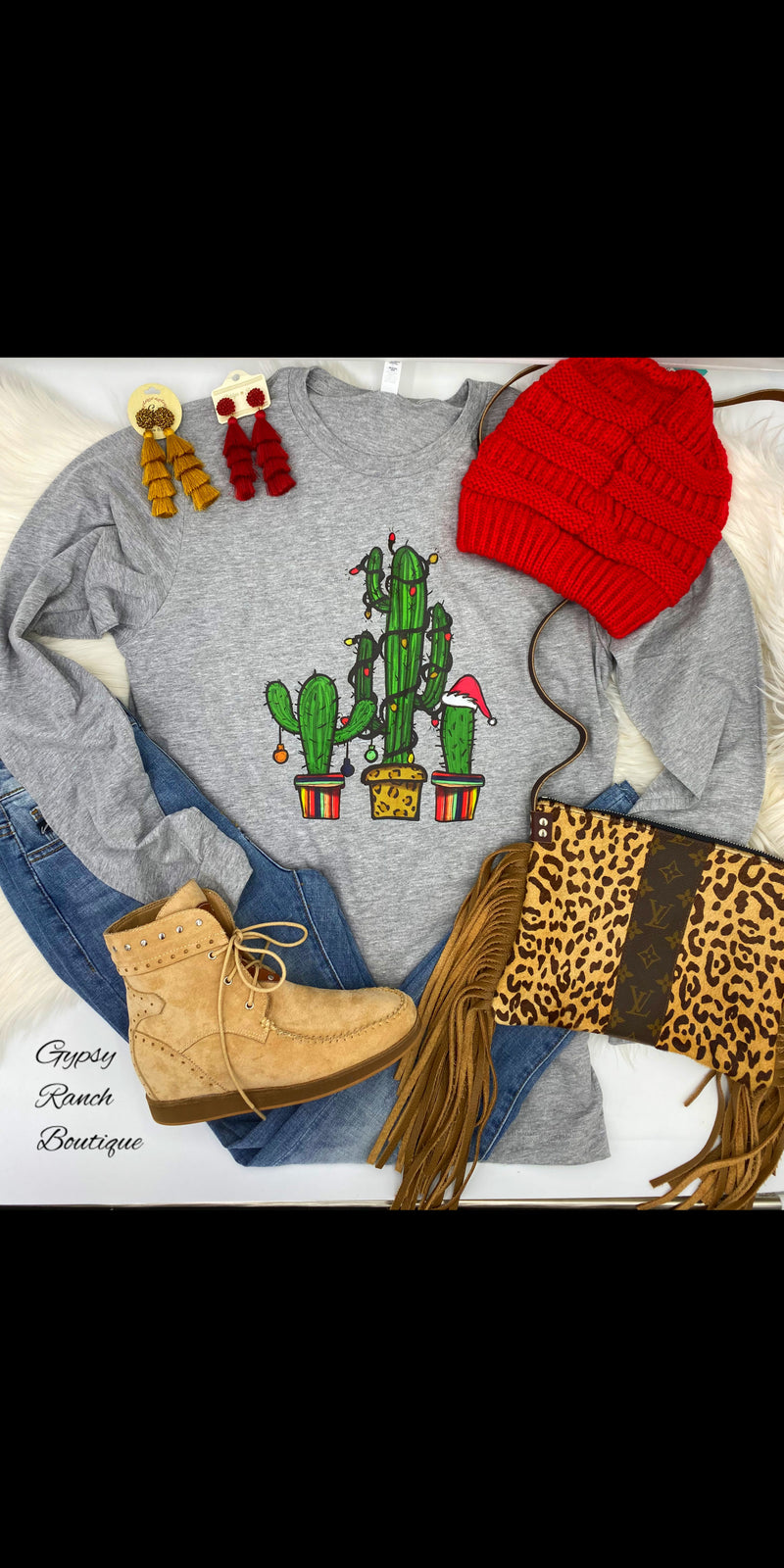 Tres Cactus Serape Leopard Long Sleeve Top - Also in Plus Size