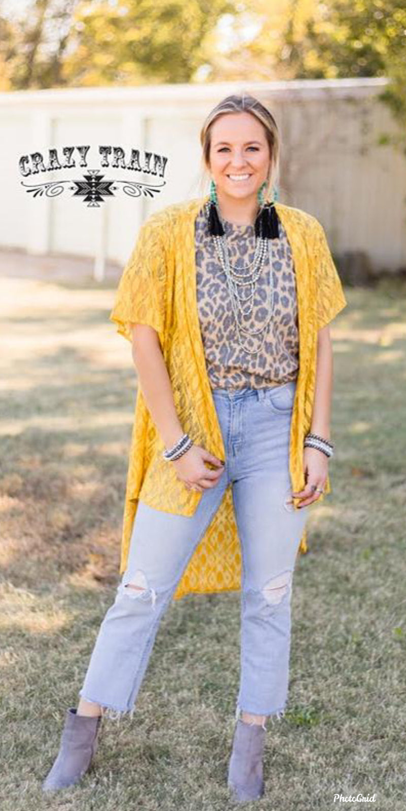 Cast Away Mustard Aztec Lace Kimono Cardigan - Also in Plus Size