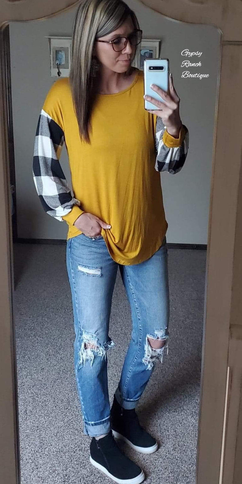 Mallory Mustard Buffalo Checkered Top