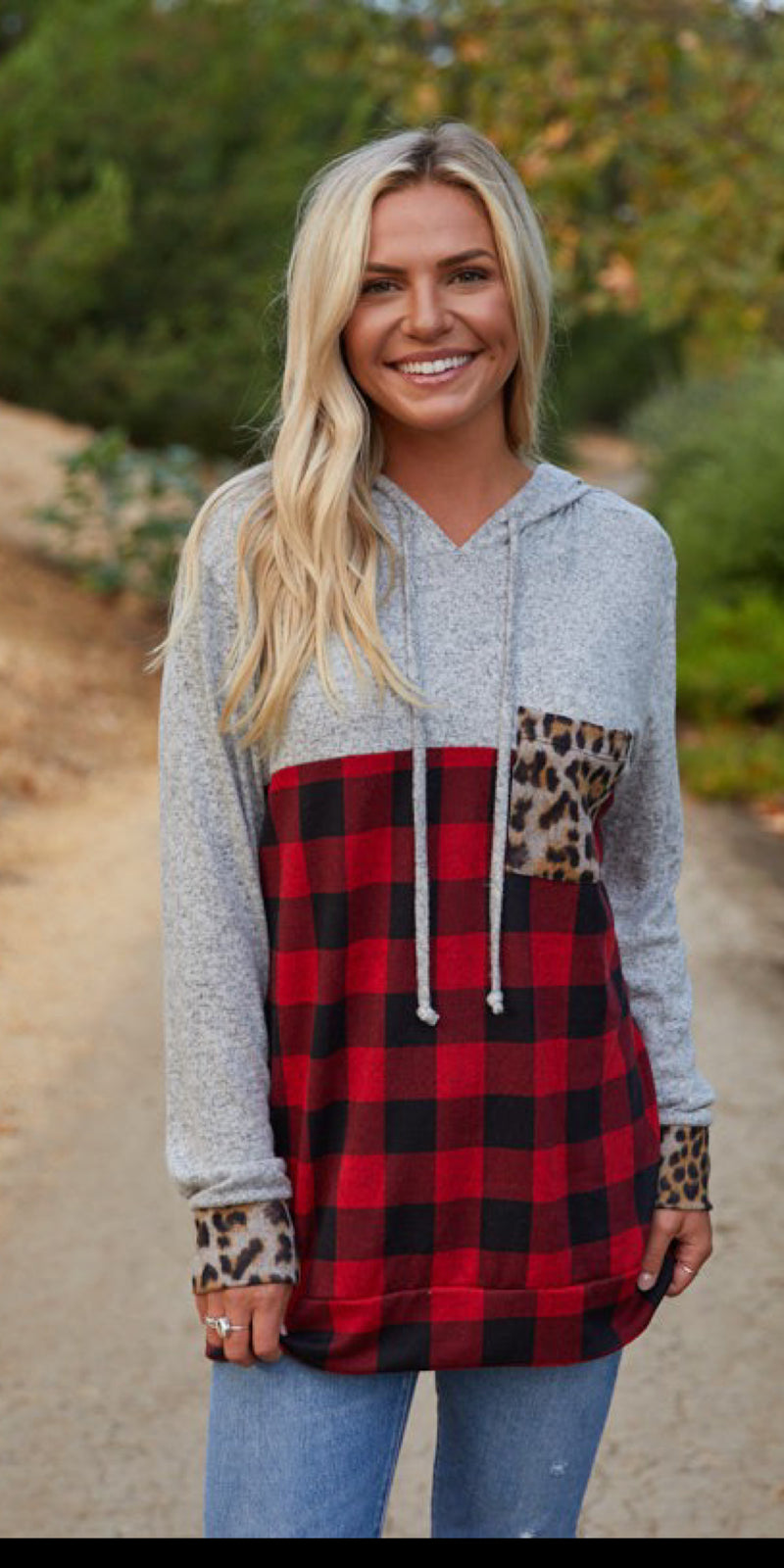 Tilden Leopard Buffalo Plaid Hoodie Top-Also in Plus Size