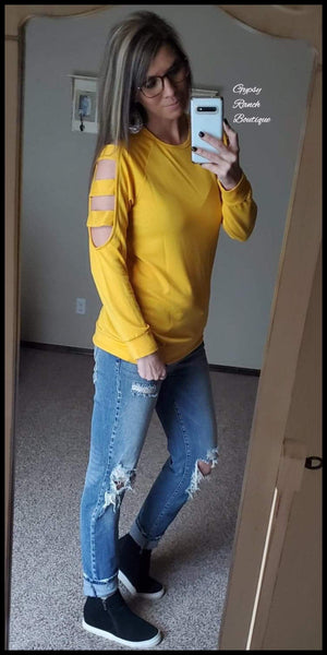 Brendalyn Mustard Slotted Sleeve Top - Also in Plus Size