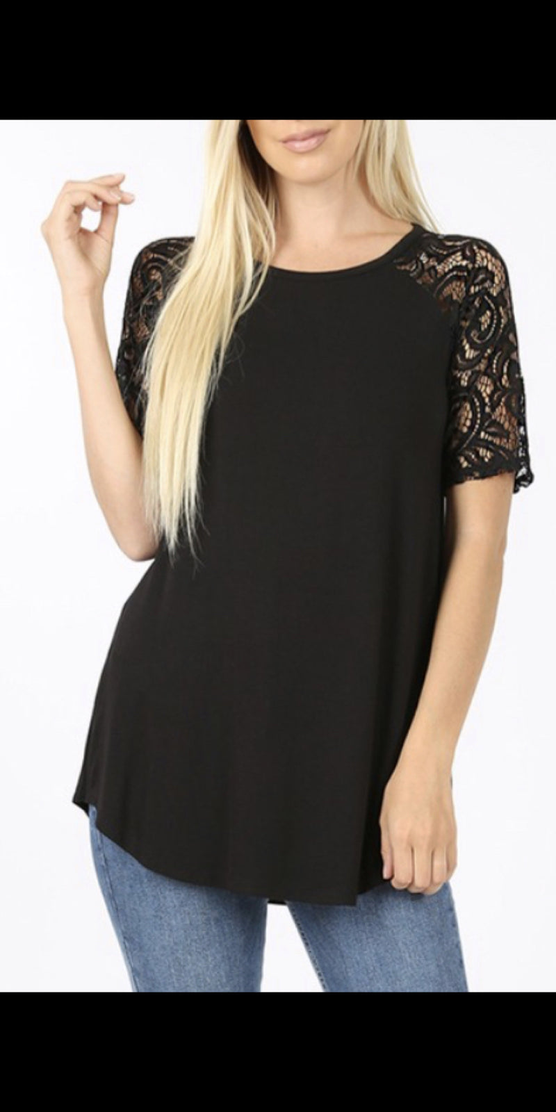 Brecken Black Lace Sleeve Top - Also in Plus Size