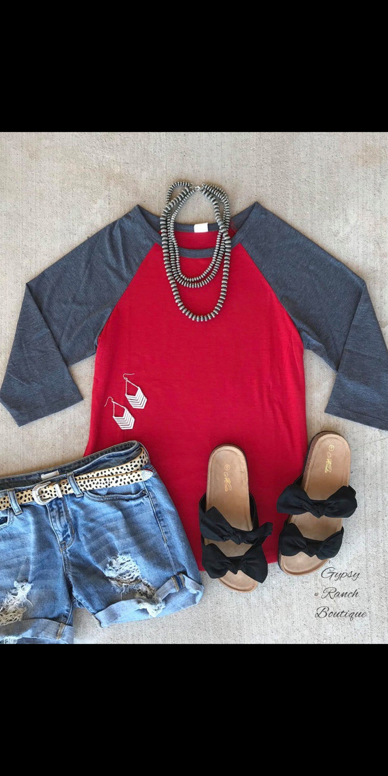 Shake Em Up Red  Raglan Top-Also in Plus Size