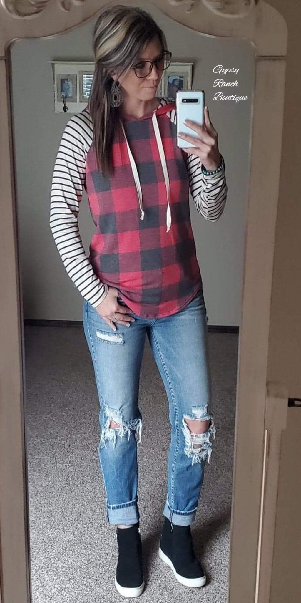 Reliance Buffalo Plaid & Stripe Hoodie Top - Also in Plus Size