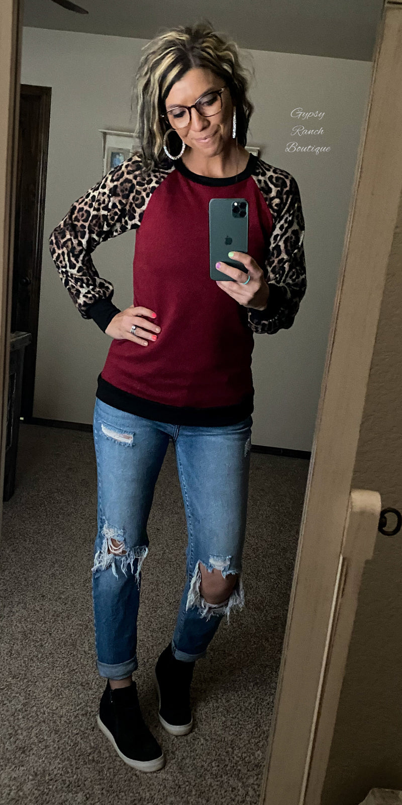 Artesia Burgundy Leopard Top - Also in Plus Size