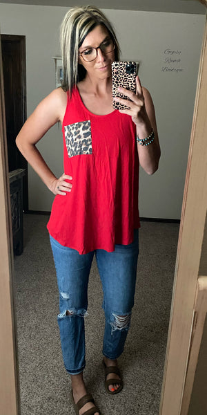 Cicily Red Leopard Pocket Tank Top - Also in Plus Size