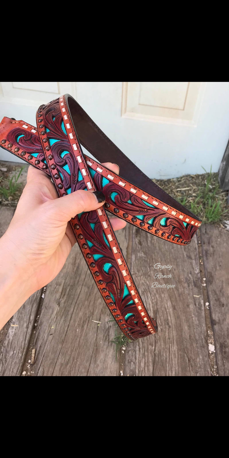 Tooled Turquoise Leather Purse Strap