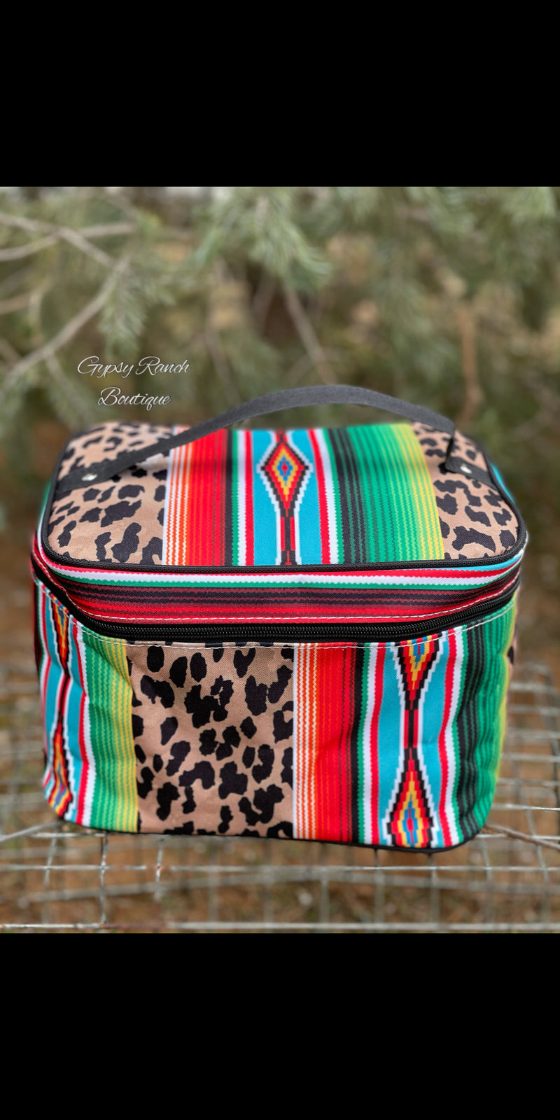 Large Serape Leopard Cosmetic Bag