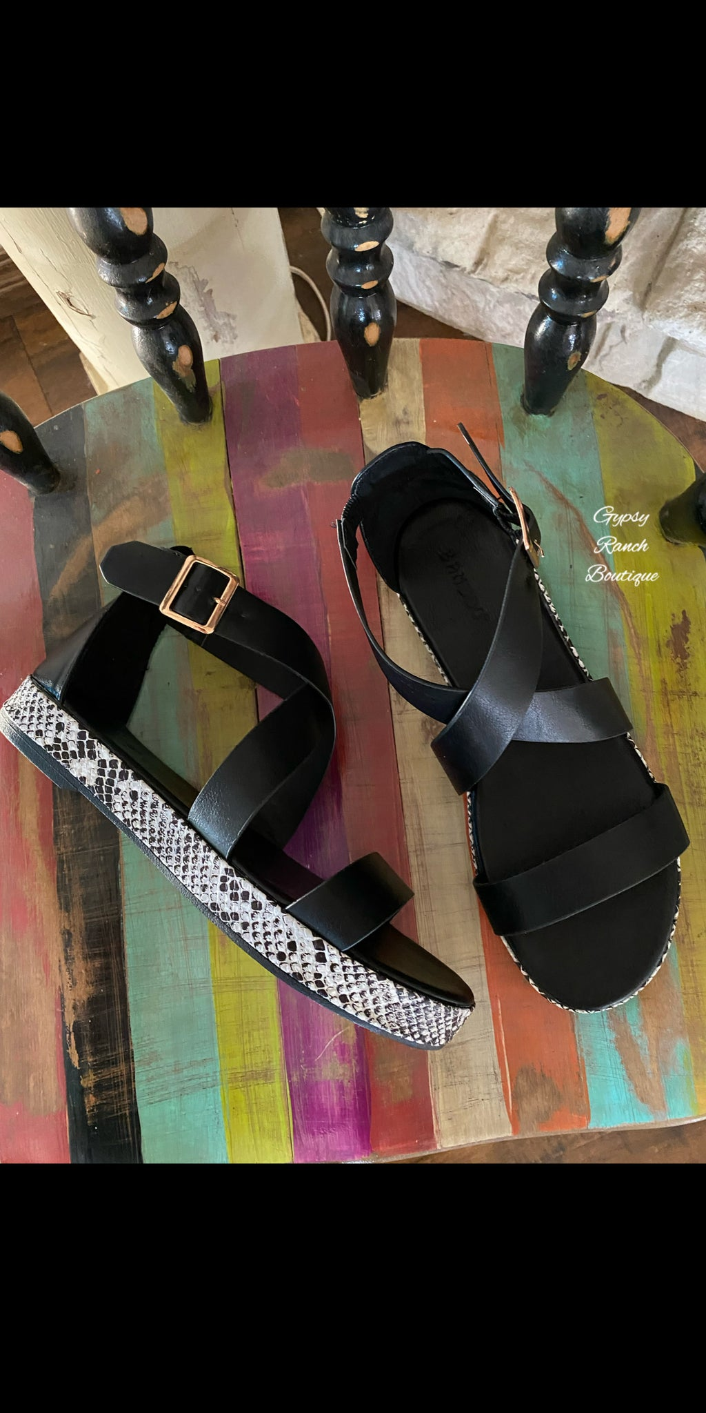 Legally Fabulous Black Snake Print Sandals