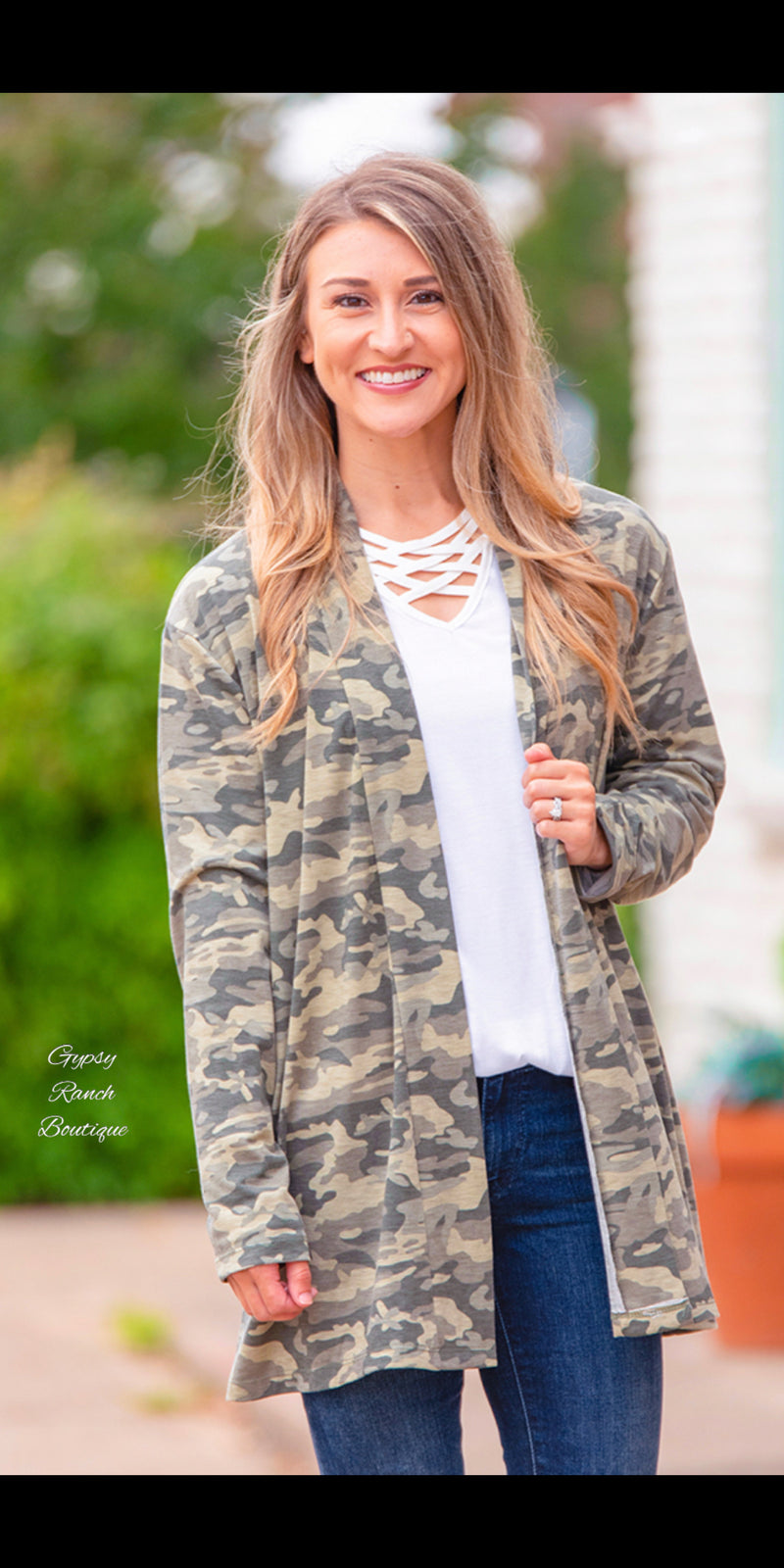 Down Home Camo Cardigan - Also in Plus Size