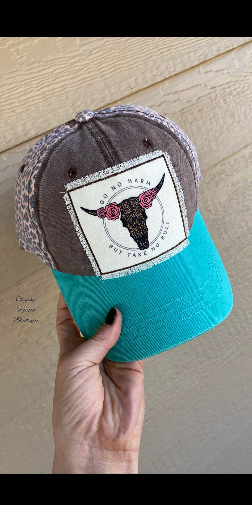 Do No Harm But Take No Bull Leopard & Turquoise  Cap