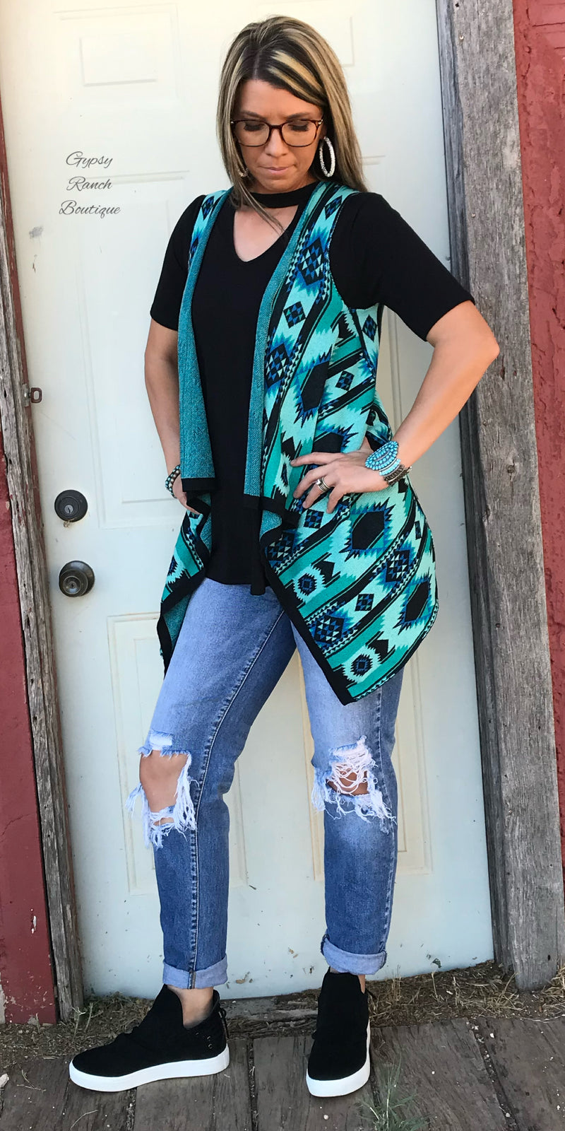 Ten Tandy Turquoise Tribal Vest - Also in Plus Size