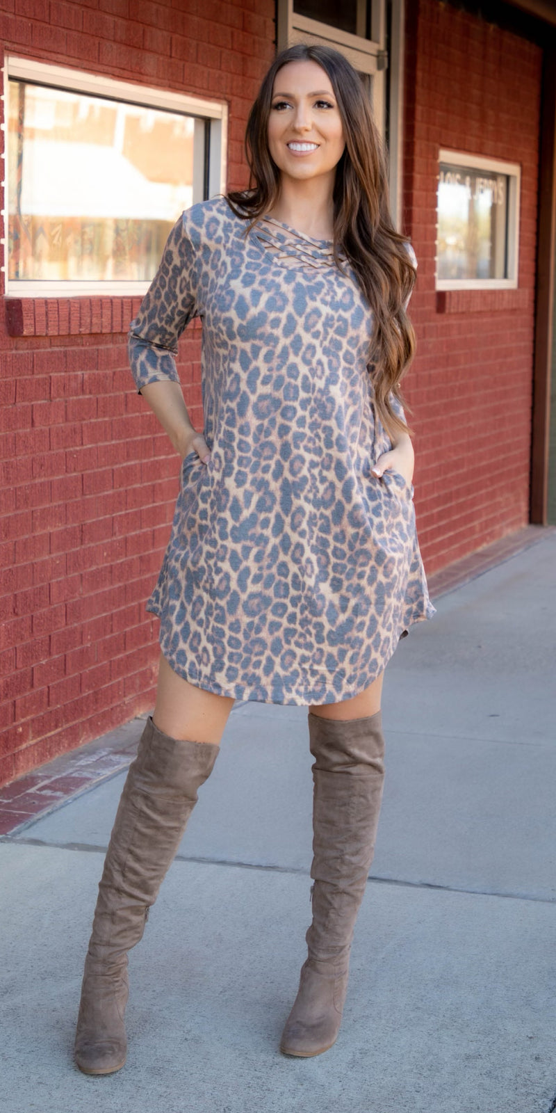 Lawson Leopard Criss Cross Tunic Dress - Also in Plus Size