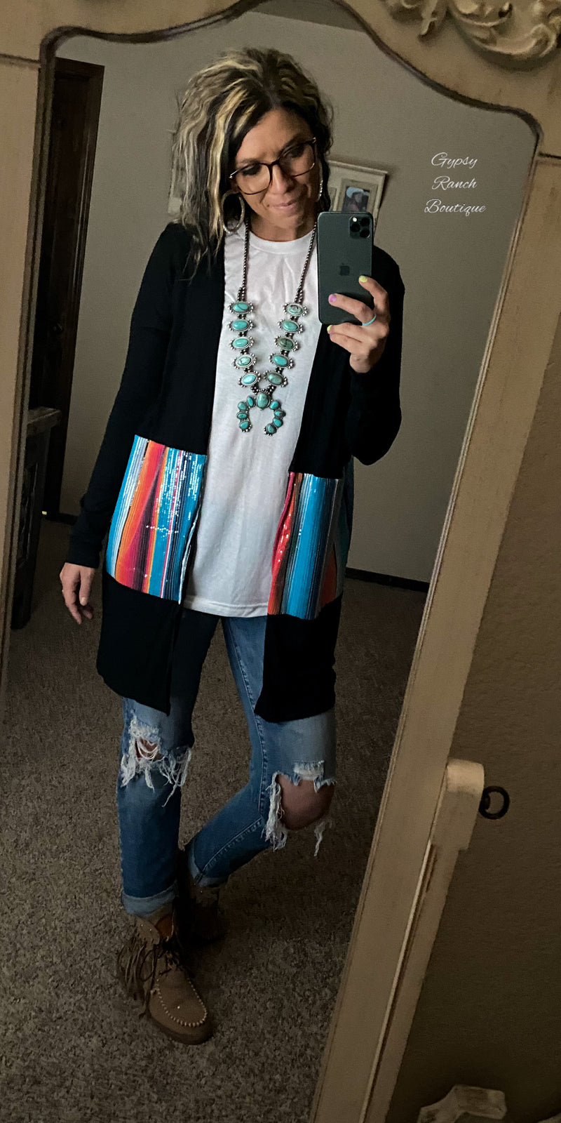 Sailor Serape Sequin Cardigan - Also in Plus Size