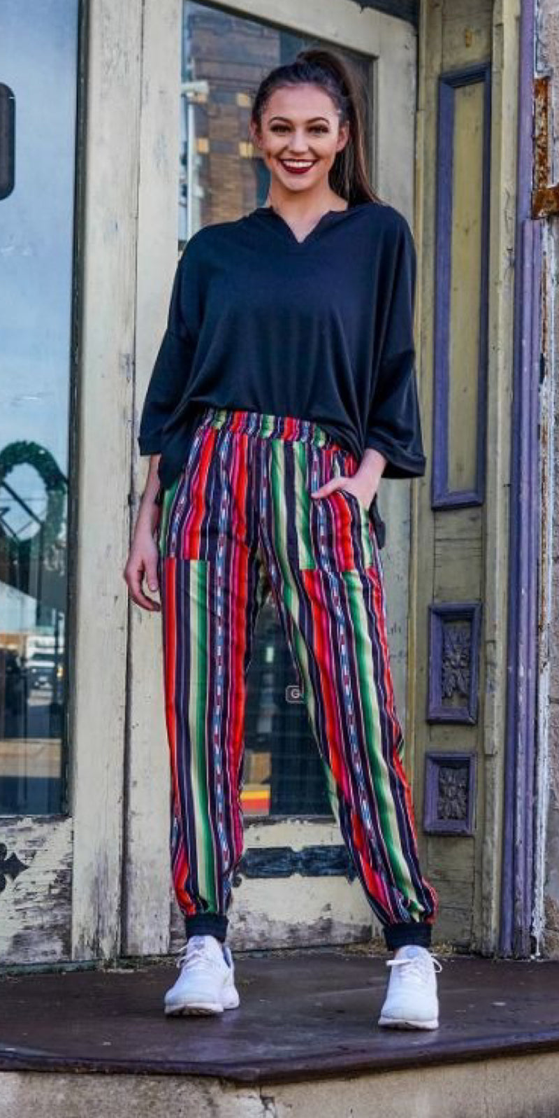 Kimber Serape Reversible Jogger Pants - Also in Plus Size