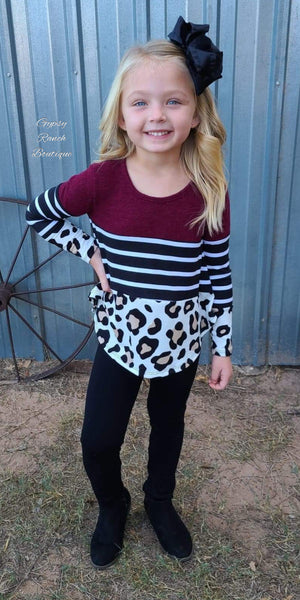 Decker Leopard Stripe Top Kids