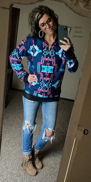 Clearlake Tribal Pullover Top- Also in Plus Size