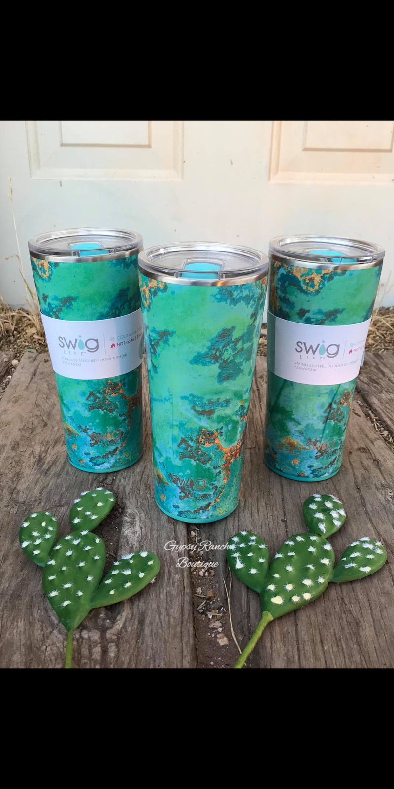 Turquoise Patina 22 oz Swig Cups