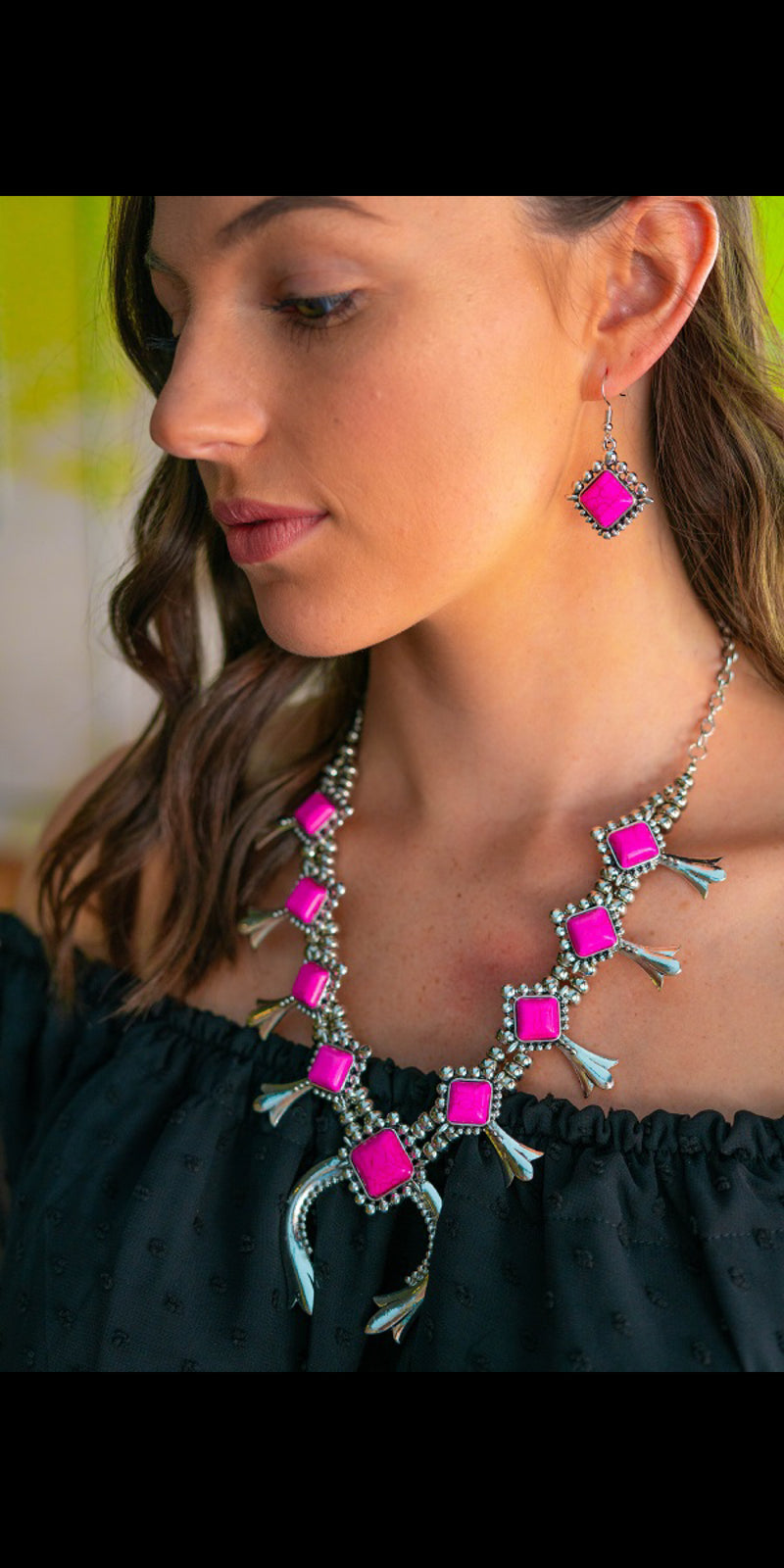 Abbi Lou Pink Squash Blossom Necklace & Earring Set