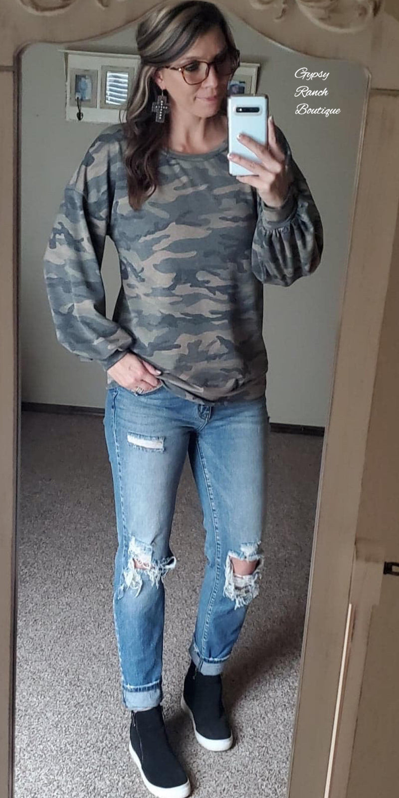 Caitlyn Camo Tunic Top