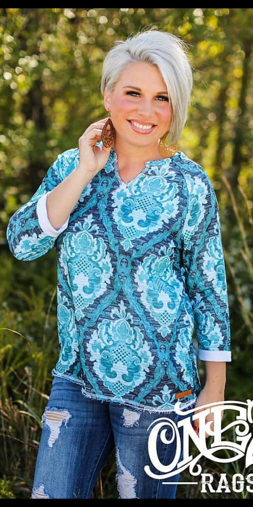 Turquoise Damask Top - Also in Plus Size