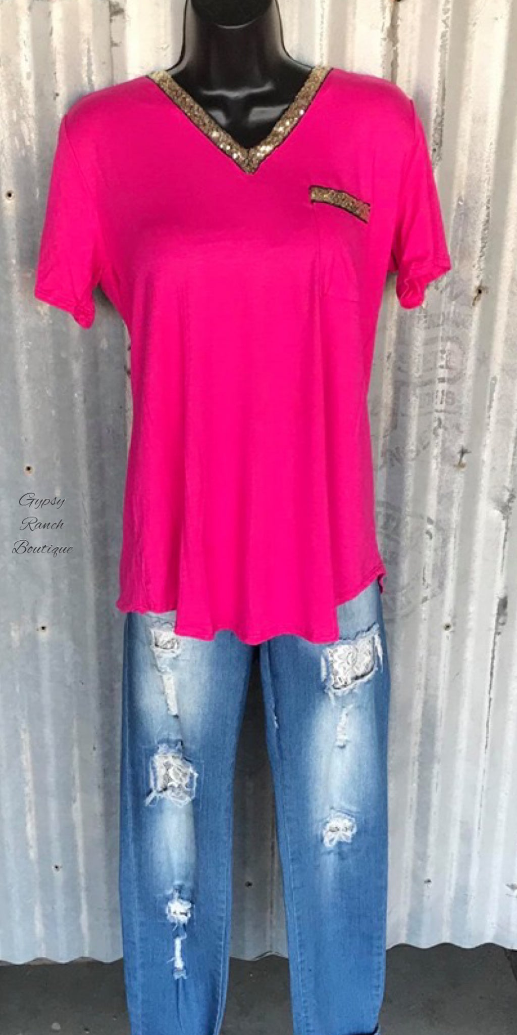 Just Between Us Hot Pink Sequin Top - Also in Plus Size