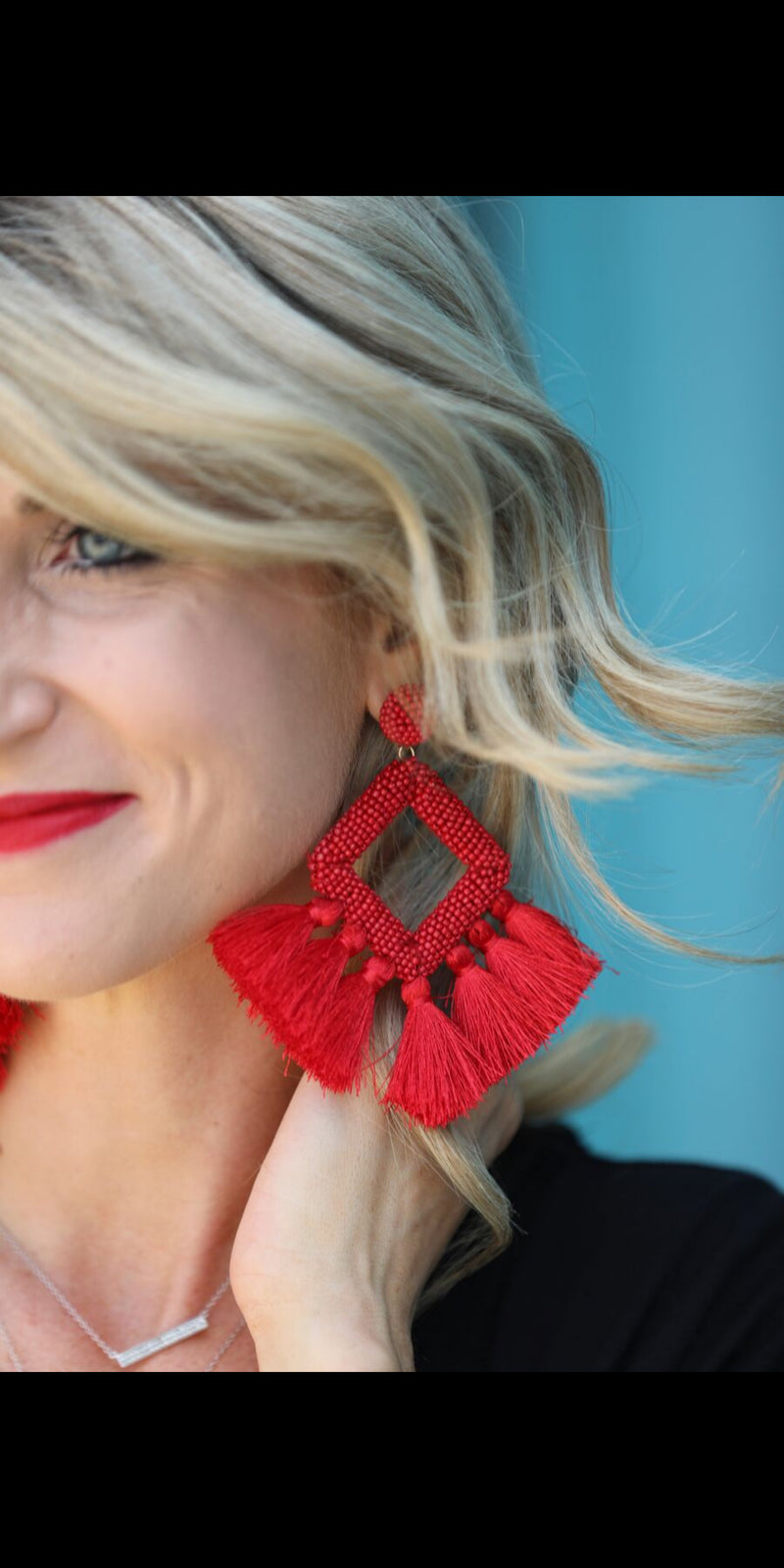 Sonora Fringe Red Earrings