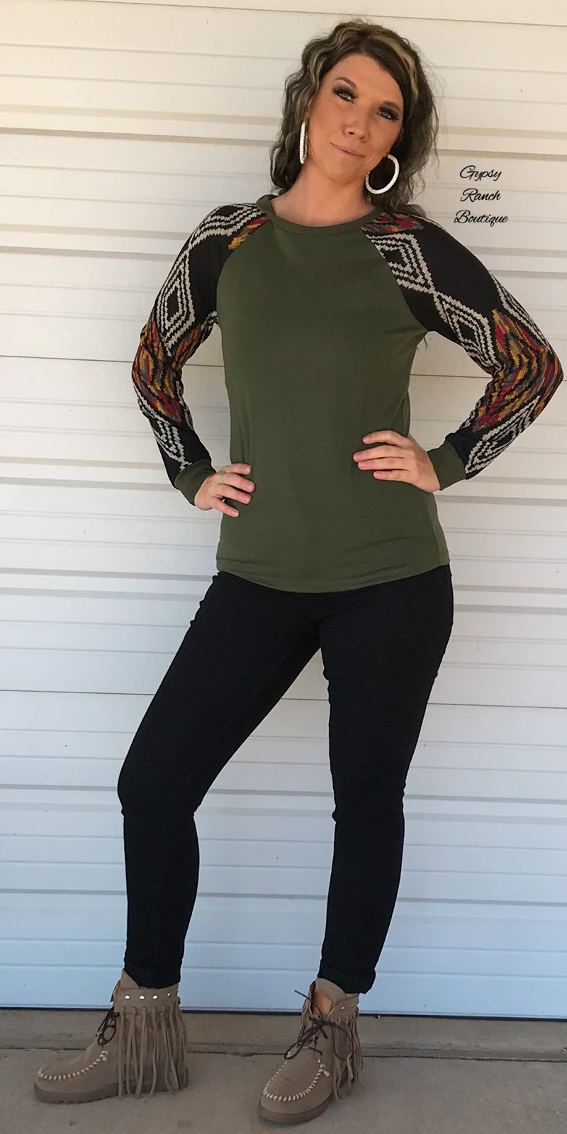 Black Friday- Alameda Olive Aztec Top - Also in Plus SIze